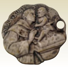 St Anthony Silver Tone Catholic Medal Dog Tag