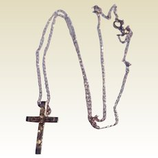 Vintage 14 K G F Cross & Chain