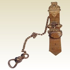 Vintage Gold Filled Pocket Watch Holder  & Fob