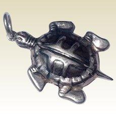 Vintage Sterling Silver Turtle Charm Or Pendant