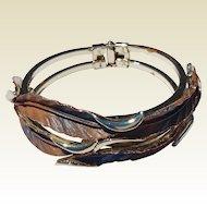 Unusual Gold Tone Tri - Color  Clamper Bracelet