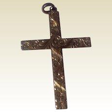 Vintage Large Gold Filled Etched Cross