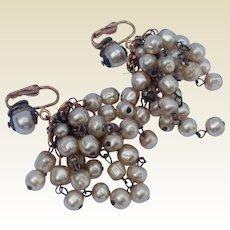 Vintage Faux Pearl Chandelier Earrings