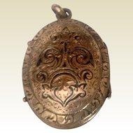 Antique English 9 K Gold Black Enamel Double Photo Locket