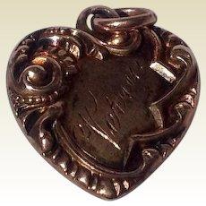 Antique Edwardian 14 K Gold Repousse Heart Pendant