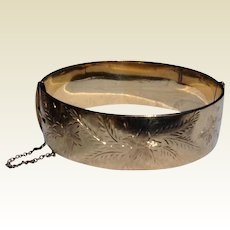 Vintage English 9 Ct Rolled Gold Wide Hinged Bangle Bracelet