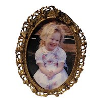 Gold Tone Easel Back Photo Frame