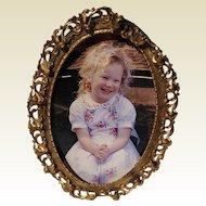 Vintage Ornate Gold Tone Metal Easel Back Photo Frame