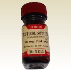 Vintage 1960'S Brown Glass Butisol Sodium Bottle