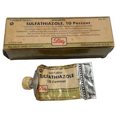 Vintage 1960'S Eli Lilly & Company Sulfathiazole Cream Original Box