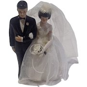 Vintage Bride & Groom Cake Topper