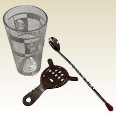 Vintage Art Deco Mr Bartender Glass Cocktail Mixer