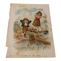 Victorian Chromolithograph Page From A Child's Nursery Rhyme Book