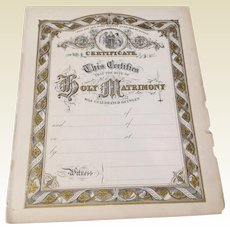 Wonderful Antique Victorian Bible Certificate Of Marriage Page