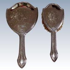 Vintage Art Deco R. Blackington & Company Sterling Silver Hand Mirror & Brush Set