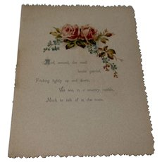 1889 Hand Colored Page From A Poetry Book