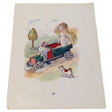 Hand Colored Page From A 1914 Children's Book