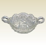 American Brilliant Period Cut Crystal Handled Bowl ABP