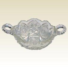 American Brilliant Period Cut Crystal Handled Bowl ABP