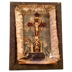 Antique Victorian Original Shadowbox Crucifix Scene And Instruments Of The Passion