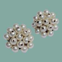 Vintage Faux Pearl Clip Earrings