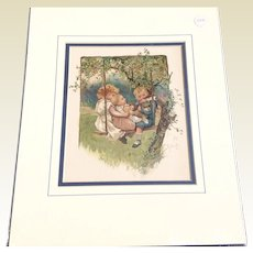 """Victorian 1890 Juvenile Chromolithograph Print """"In The Swing"""""""