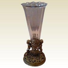 Victorian Gold Gilt Cherub Flower Vase
