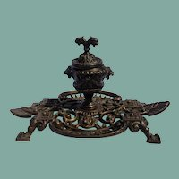Antique Ornate Brass Footed Ink Well