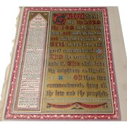 """Victorian Page From A Family Bible """"The Ten Commandments"""""""