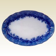 Antique Victorian Flo Blue Oval Platter