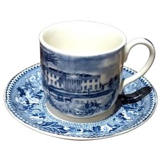 Vintage Johnson Bros. Historic America Blue & White Demi Tasse Cup & Saucer
