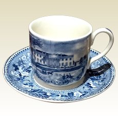 Vintage Johnson Bros. Historic America Blue & White Demi Tasse Cup & Saucer