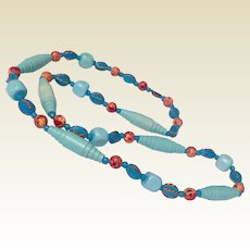 Vintage Turquoise & Coral Bead Necklace