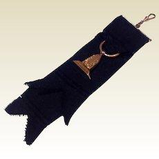 Victorian Gold Filled Mourning Fob On  Black Grosgrain  Ribbon