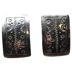 Sterling Silver Mexican TD-54 Rectangular Earrings