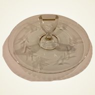 Etched Glass Sandwich/Dessert Tray Handled