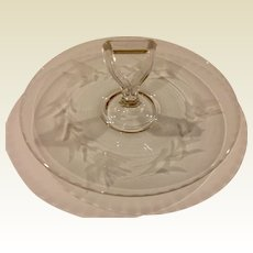 Vintage Etched Glass Handled Sandwich/Dessert Tray