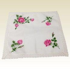 Vintage Rose Motif Hankerchief