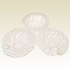 Set Of Three Hand Crocheted Doilies