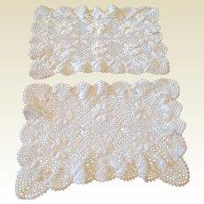 Vintage Set Of Two Crochet Lace Doilies
