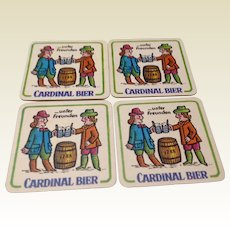 Vintage Set Of Four German Cardinal Bier Coasters Or Mats