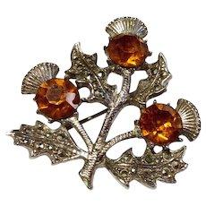 Vintage Silver Tone Scottish Marcasite Amber  Rhinestone Thistle Brooch