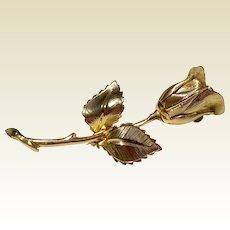 Vintage Three Dimensional Gold Tone Metal Giovanni Rose Pin