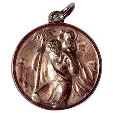 Vintage Sterling Silver St. Christopher Catholic Medal