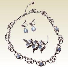 Vintage Sterling Silver Glass Moonstone Three Piece Set