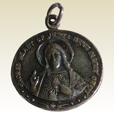Vintage Sterling Silver Catholic Sacred Heart Of Jesus Medal