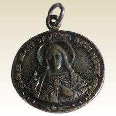 Vintage Sterling Silver Catholic Sacred Heart Of Jesus Medal
