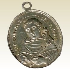 Early Vintage Aluminum Catholic Medal Of Saint Dominic