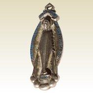 Vintage Sterling Silver Blue Enamel Creed Miraculous Medal