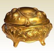 Art Nouveau Gilt Metal Jewelry Casket